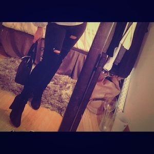 Selling these black over the knee boots !